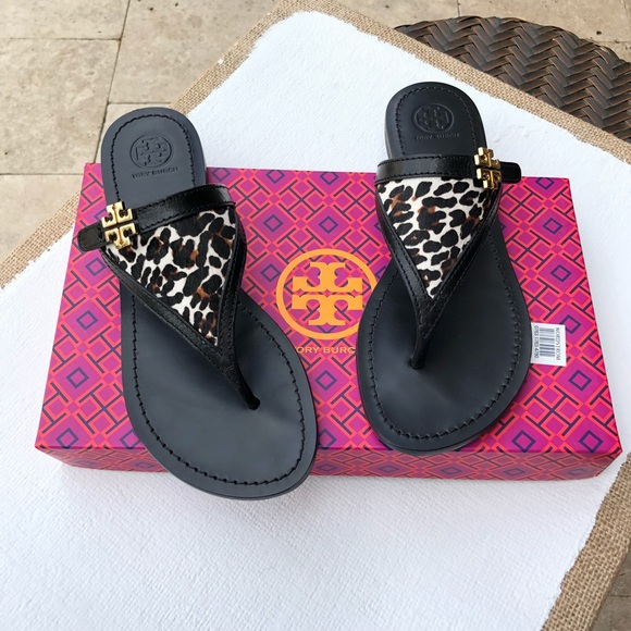 032010daf Tory Burch Eloise Leopard Thong Sandals